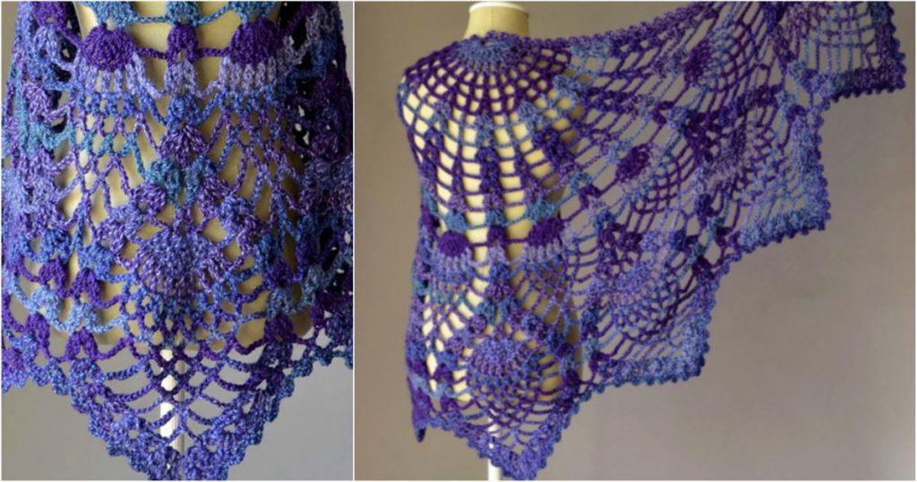 Pineapple Crochet Peacock Shawl Free Pattern Diy Smartly