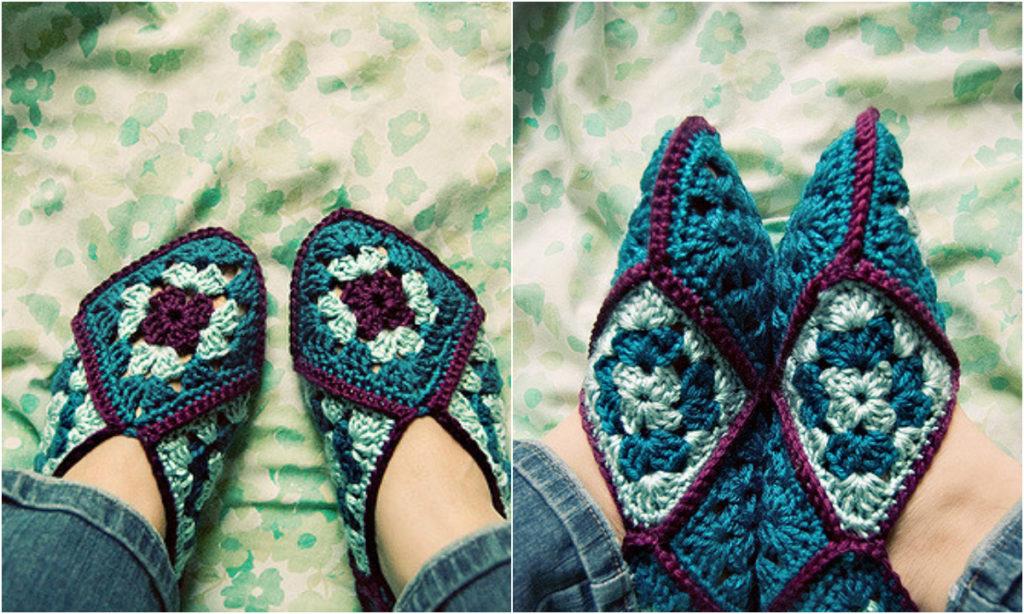 Easy Crochet Granny Square Slippers Diy Smartly