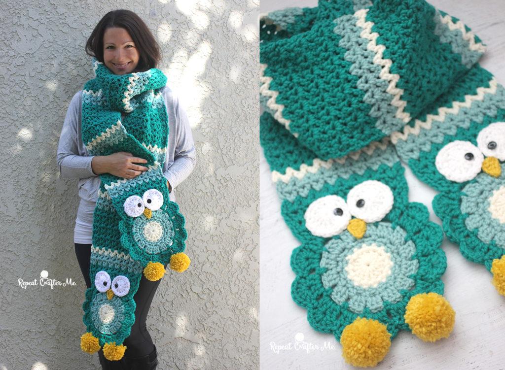 Crochet Owl Super Scarf Free Pattern Diy Smartly