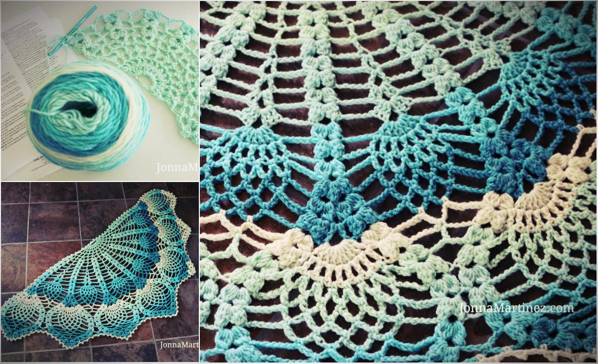 Free Pattern Pineapple Peacock Crocheted Shawl Video Tutorial