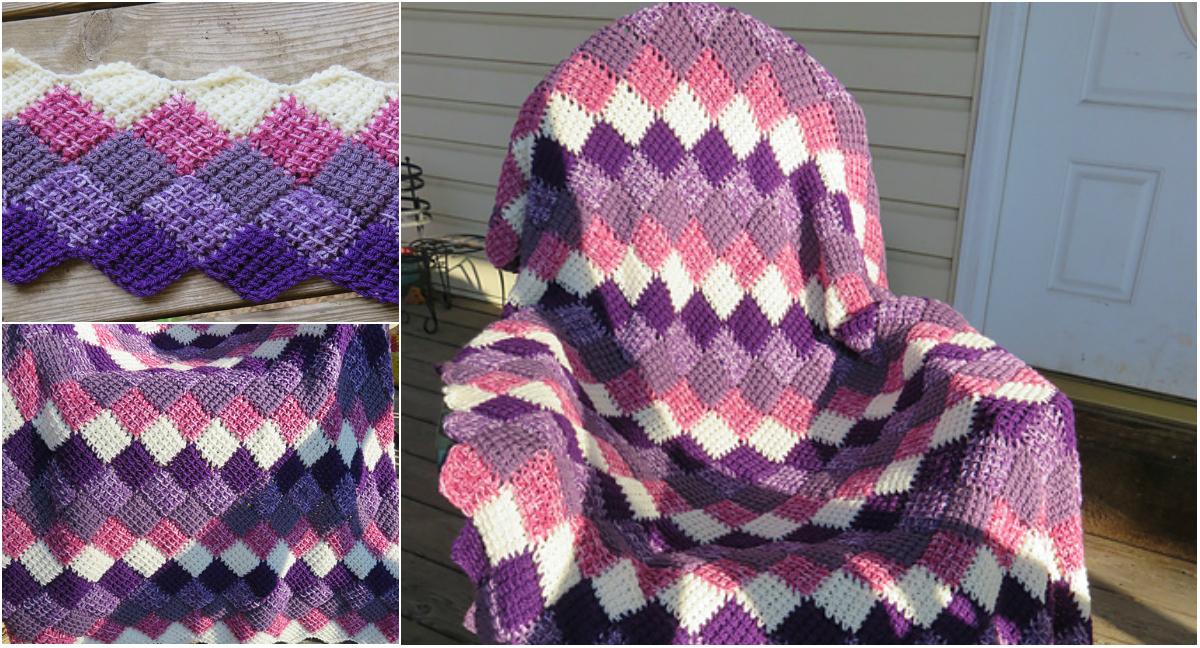 Tunisian Crochet Entrelac Throw Free Pattern Diy Smartly