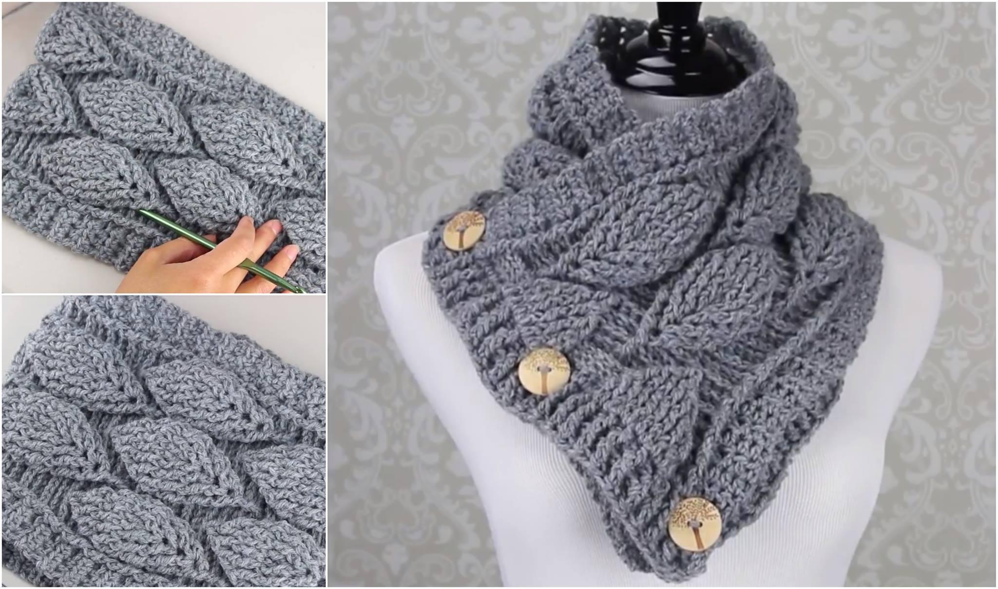 Free Pattern] Cozy Crochet Leaf Stitch Cowl | Diy Smartly