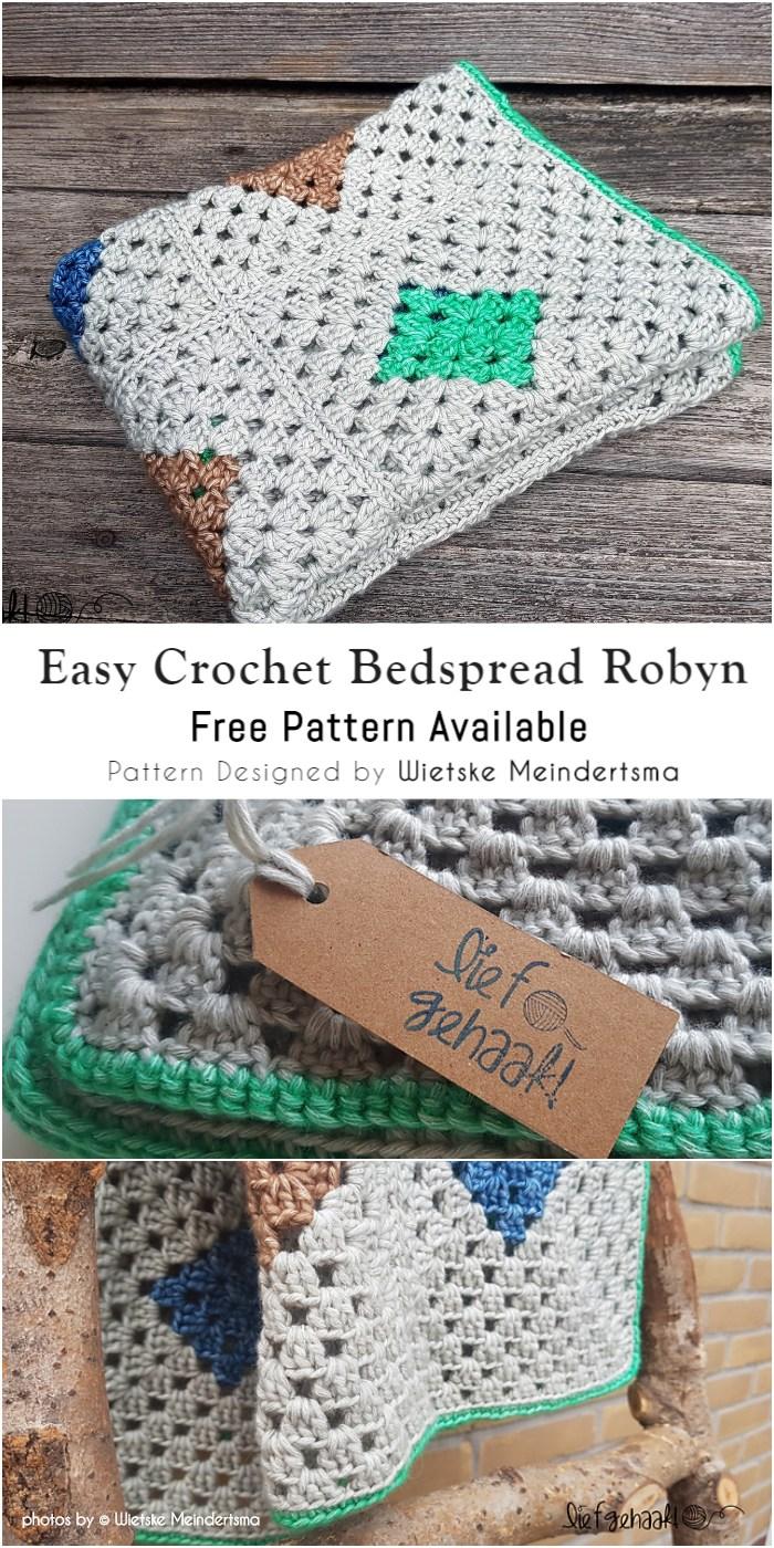 Crochet Granny Square Style Bedspread Robyn Diy Smartly
